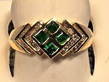 LADIES EMERALD AND DIAMOND RING , SET IN 14K YELLOW GOLD   RETAIL  $ 995.00