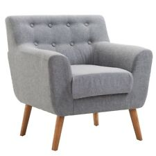 Tufted Arm Chair Fabric Upholstered Wood Leg Mid Century Sofa Accent Chair (Gray