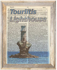 Tourlitis Lighthouse Greece Altered Art Print Upcycled Vintage Dictionary Page