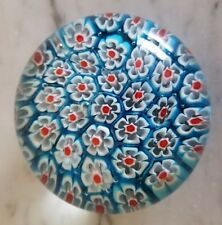 Tightly Packed Blue Red White Cane Multi-Color Millefiori Art Glass Paperweight