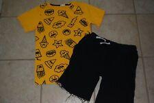 Boy's Appaman Set Gold Emoji T Shirt & Black Brighton Shorts sz 8-10