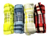 Warm Cosy Brushed Fleece Throw Tartan Large Blanket Travel Picnic Rug 150 x120cm
