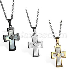 Men Stainless Steel Shell Religious Christ Crucifix Cross Pendant Necklace Chain
