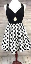 New Renn Polka Dot Dress Black White Bow Cut Out Juniors Modern Retro Small 4