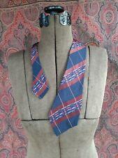 """New listing Vintage 1940s necktie tie maroon blue white stripe plaid Tailored Cravat 48 1/2"""""""