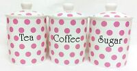 Pink Spots Tea Coffee Sugar Canisters Bone China Pink Storage Jars Set Decor UK