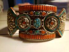 Red Coral, Turquoise & Boho Jewelry Tibetan Silver Cuff