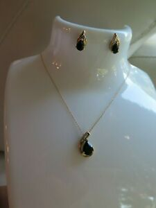14K Yellow Gold Sapphire Diamonds Pendant Necklace Earrings Set (#623)