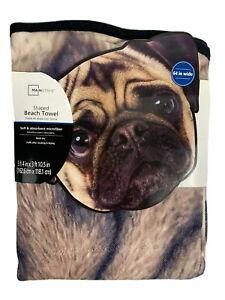 "Mainstays Dog Shaped Beach Towel NWT 64"" Wide Pug Face Dog1"