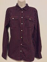 Talbots 14 Shirt Blue Red Polka Dot Fitted Cotton Button Down