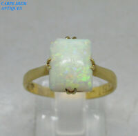 STUNNING VICTORIAN 1.00CT CABOCHON CUT OPAL SOLID 18CT GOLD RING UK N 1/2 1876