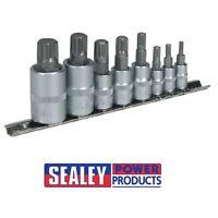 """Sealey Spline Socket Bit Set 8pc 1/4"""", 3/8"""" & 1/2""""Sq Drive AK6214"""