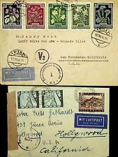 AUSTRIA 1947-48 2 CENSORED AIRMAIL COVERS TO HOLLYWOOD USA WITH V3 FLOWERS 5V