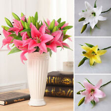 Wholesale 3 Heads Artificial Fake Lily Flower Bouquet Wedding Party Home Decor