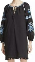 NWT Beltaine Womens Black Embroidered Tassel Trim Split Neck Tunic Dress Small