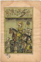 Hand Painted Mughal Procession Miniature Painting On Paper Gouache Artwork
