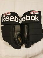 "Reebok Total USA Hockey Gloves Black White Genuine Leather 10"" NHL"