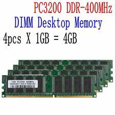 4GB Desktop Memory 4x 1GB DDR 400MHz PC 3200 184pin Non-ECC DIMM RAM Low Density