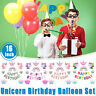 Unicorn Star Balloons Set Happy Birthday Party Dec Princess Girl Foil Kids 19Pcs