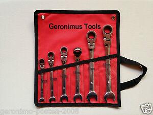 Ratschenschlüssel Ratschenringmaulschlüssel mit Gelenk SW 8-19 Set 7 tlg. Neu