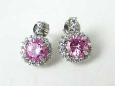 Estate Sterling Silver Pink & White CZ Ladies Earrings 6.4g