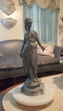 Greek Bronze Statue Goddess Iris/Hebe Goddess Of Dawn Sculpture W/ Marble Stand