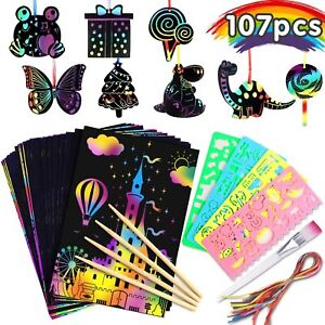 Prextex 175 Scratch Art and Doodle Activity Craft Sheets with 2 Wooden Stylus Scratch Art for Kids