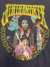 Jimi Hendrix Shirt 'Burning The Midnight Oil' Rocking Artwork Size S New w/o tag