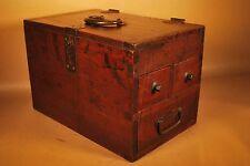 VINTAGE SIGNED 1925 JAPANESE CALLIGRAPHY / SUZURIBAKO TANSU / KEYAKI WOOD BOX