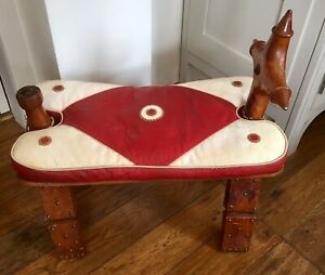Vintage - Egyptian Leather Small Leather, Wood Camel Stool - Furniture