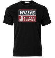 Jeep Willy's Sales And Service - Graphic Cotton T Shirt Short & Long Sleeve