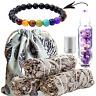 Sage Smudge Sticks 3 Pack & Amethyst Healing Crystals Essential Oil Chakra Kit