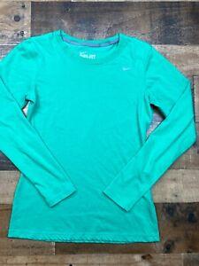 Nike Womens Green Long Sleeve Dri Fit Logo Slim Fit Tee Shirt Tshirt Size Small
