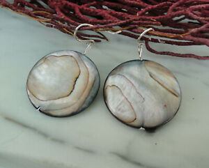 ROUND Disc MOTHER OF PEARL SHELL Sterling Silver Earrings, Handmade Jewelry