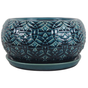 Ceramic Bowl Garden Planter 10 in. Blue Attached Saucer Built-in Drainage Hole