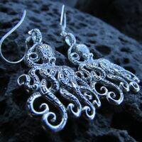Octopus Earrings. Sterling Silver. Tribal Design. Handmade.