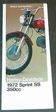 1972 HARLEY DAVIDSON MOTORCYCLE SPRINT SS 350 CC ORIGINAL SALES BROCHURE (846)