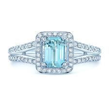 Aquamarine Diamond Ring 18k White Gold Emerald Cut Halo Pave Split Shank 1.26TCW