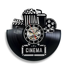 Cinema vinyl record wall clock 12 inch black Vintage gift for husband Movie art