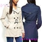 Women's CANVAS MAC Size 8 10 12 14 16 Ladies TRENCH JACKET COAT Beige Navy Blue