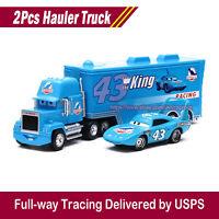 2Pcs Disney Pixar Cars King with Dinoco Hauler Truck Diecast Toys 1:55 Car Loose