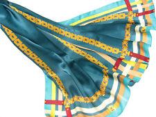 "Women's 100% Satin Silk Scarf / Blue / Solid / 68"" X 26"""