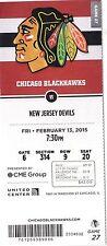 2015 CHICAGO BLACKHAWKS VS NJ DEVILS UNUSED TICKET STUB 2/13 RYAN HARTMAN DEBUT