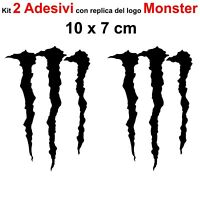 Kit 2 Adesivi Monster Graffio Moto Stickers Adesivo 7 x 10 cm decalcomania NERO