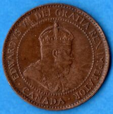 Canada 1907 H 1 Cent One Large Cent Coin - Very Fine