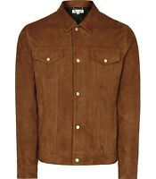 REISS Mens Suede Leather Jacket M Brown