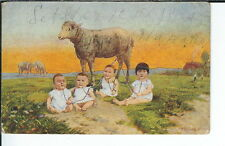 AY-002 - Four Babies, Artist Signed Th. Bauer Wien 1907-1915 Postcard Golden age