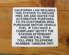"""FREE AIR & WATER CALIFORNIA GAS STATION SIGNS 15"""" x 13"""" VINYL LAMINATED DECAL"""