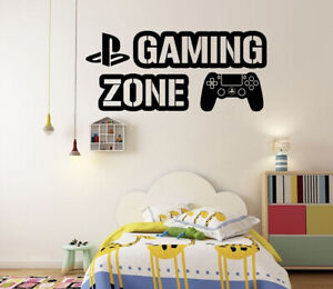 Gaming Zone Wall Stickers PS4 Controller Gamer Vinyl Decals Kids Bedroom PS4 GB5