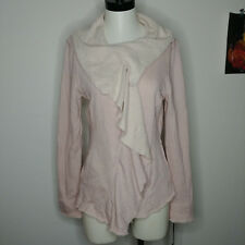 Blanc Noir Zip Jacket Ruffle Blush Pink 100% Cotton Pockets Fitted Soft $120 M